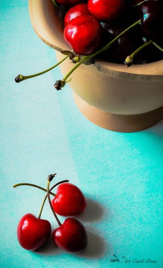 Cherries on turquoise 1
