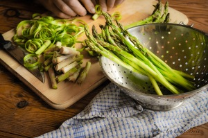 Asparagus chopped and peeledd