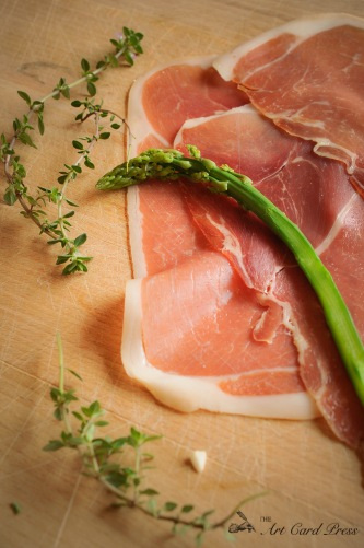 Asparagus, cured ham and thyme