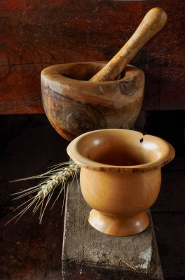 Wabi Sabi bowl and pestle and mortar