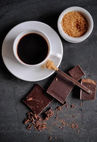 Coffee cup sugar overhead view