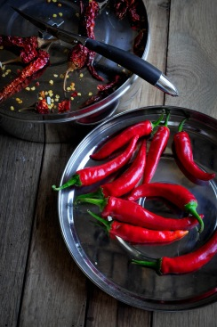 Chillies knife tray and dried chillies