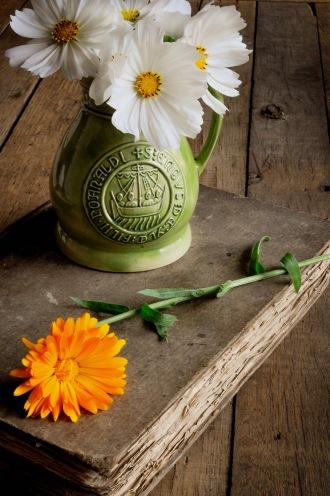 Cosmos Marigolds and green Jug