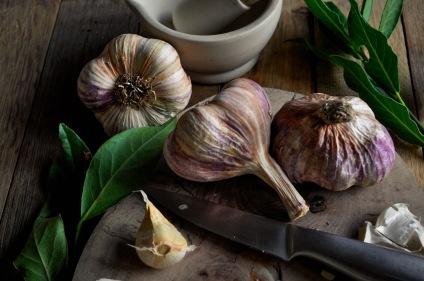 Rose Garlic knife and mortar crop