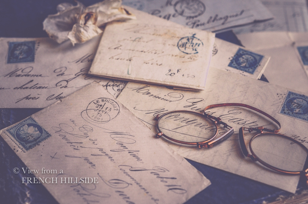 Brocante letters blue stamps-17