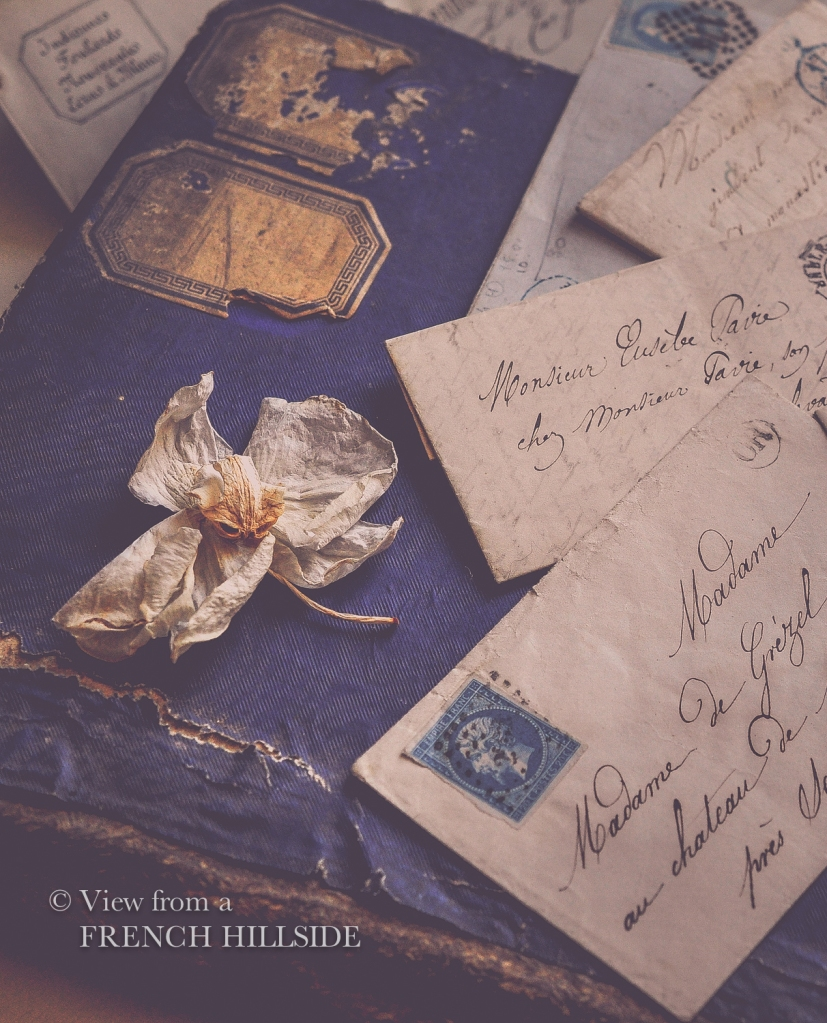 Brocante letters blue stamps-20