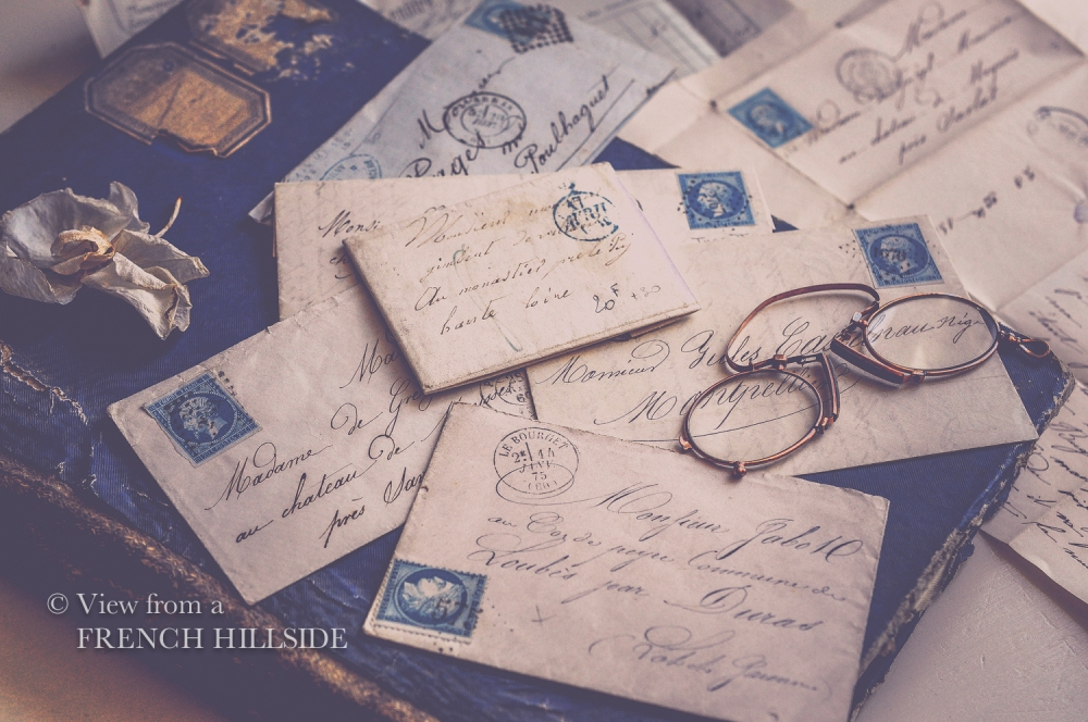 Brocante letters blue stamps-9